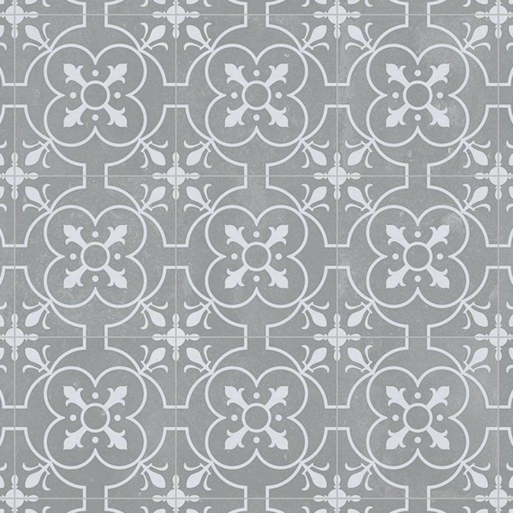 Grey Victorian Tile Effect Textile Back Vinyl Flooring