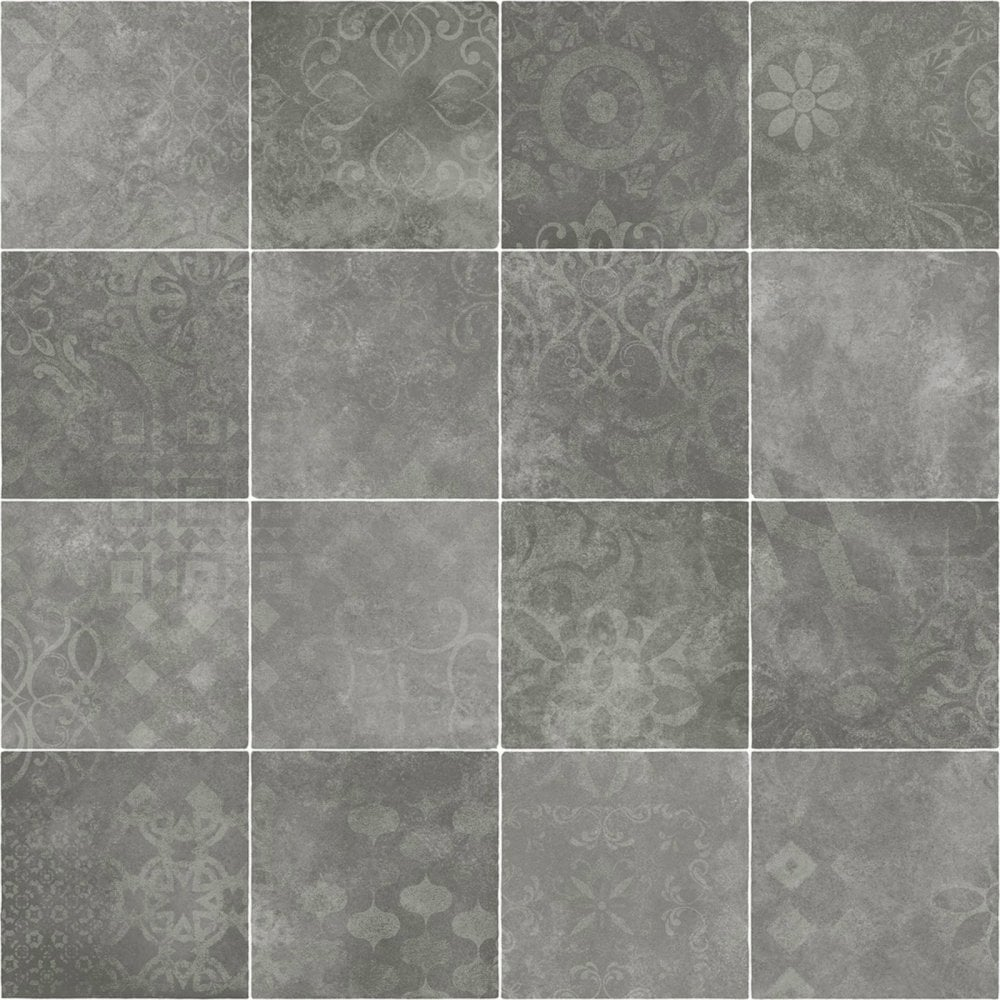 Modern Grey Tile Effect Lino 3 8mm Thick Vinyl Flooring