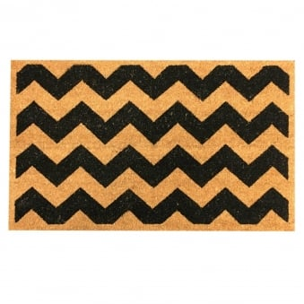 Coir Door Mat Black Chevron