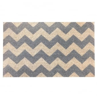 Coir Door Mat Grey Chevron