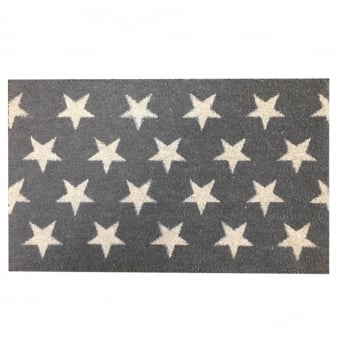 Coir Door Mat Grey Stars