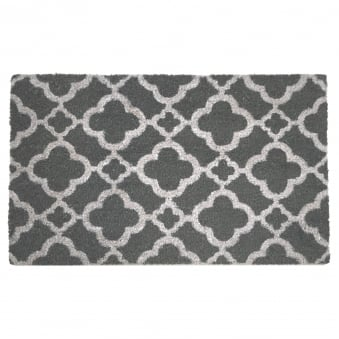 Coir Door Mat Grey Trellis