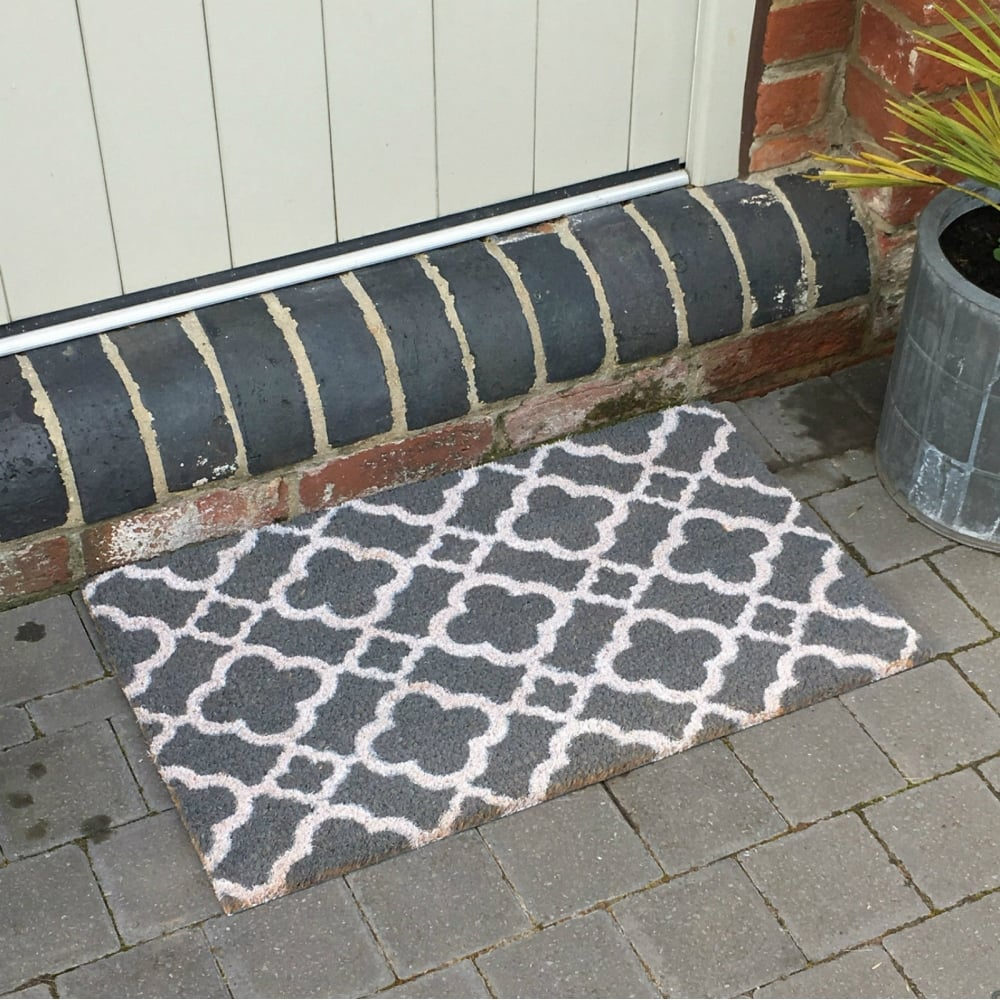 Coir Door Mat Grey Trellis Coconut Entrance Door Mat