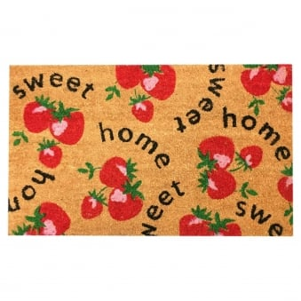 Coir Door Mat Sweet Home Strawberries
