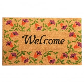 Coir Door Mat Welcome Flowers