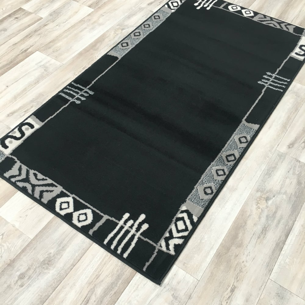Black grey border wilton rug cheap rugs flooring direct for Direct flooring