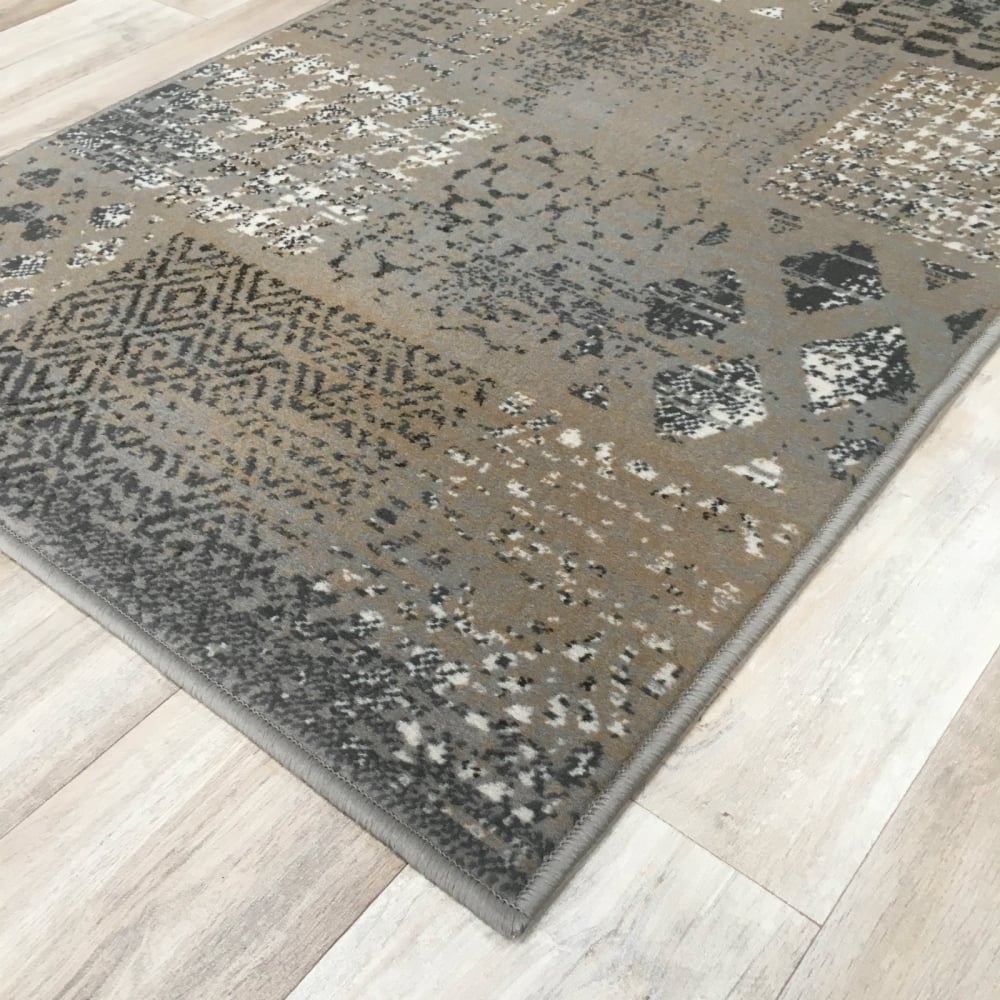 Silver grey patchwork wilton rug cheap rugs flooring for Direct flooring