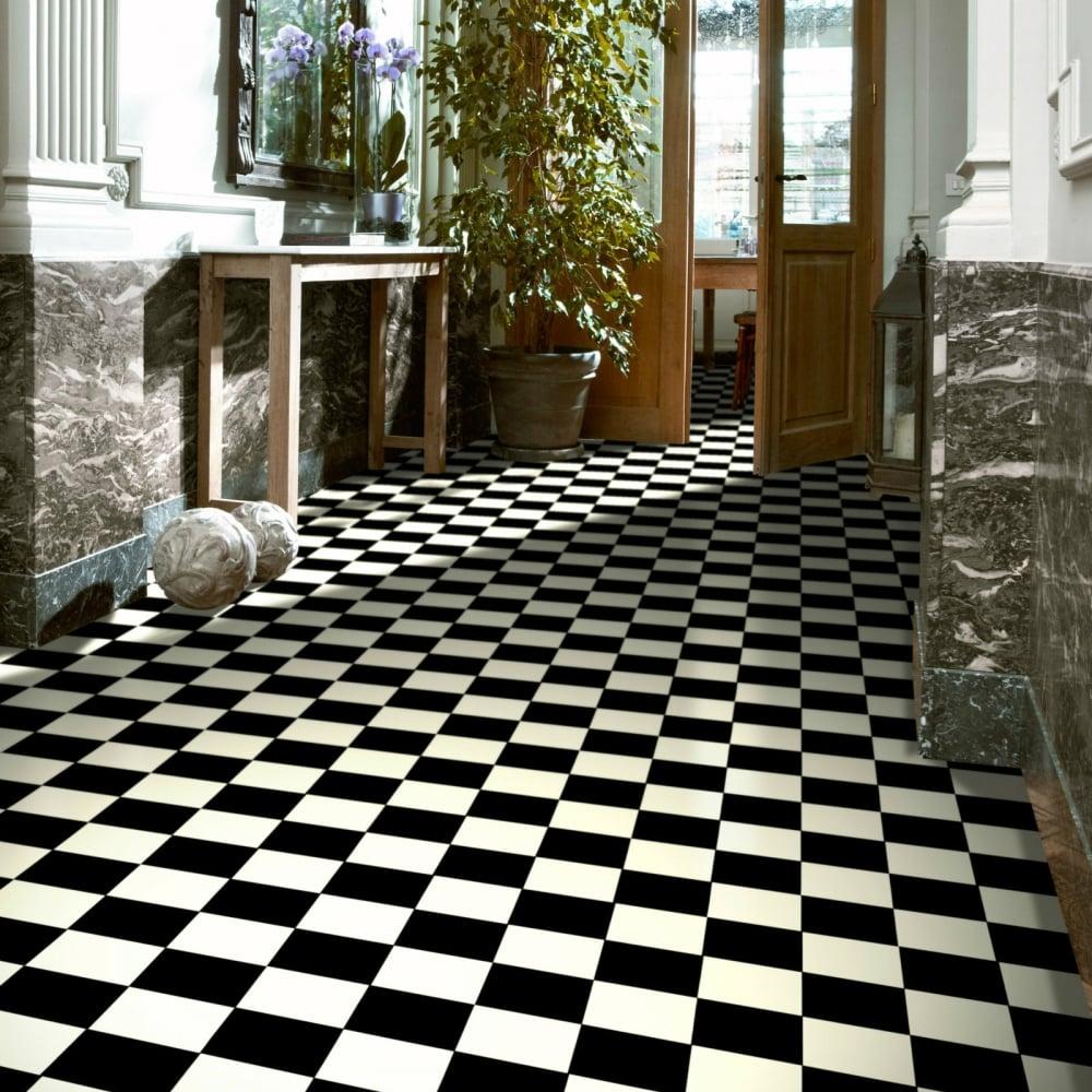 Chessboard Vinyl Flooring Black White Tile Flooring Direct