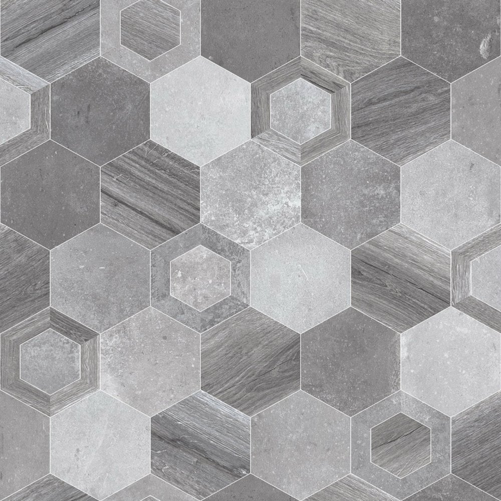 Grey Hexagon Shape Tile Vinyl Flooring 3 8mm Thick